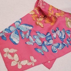 Talbots Butterfly Scarf 100% Silk Vintage